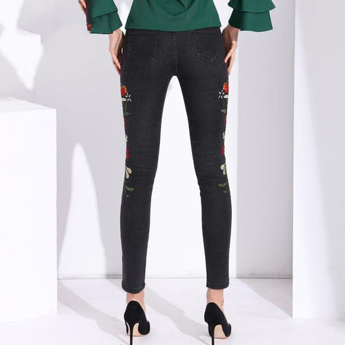 Women's High Waist Stretch Jeans With Beautiful Embroidery in 3 Cool Colors