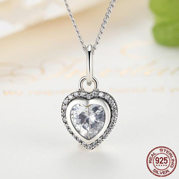 Elegance of Diamonds in the Romance of Hearts - Jewelry Set Crafted from Silver and Diamonds like Crystals