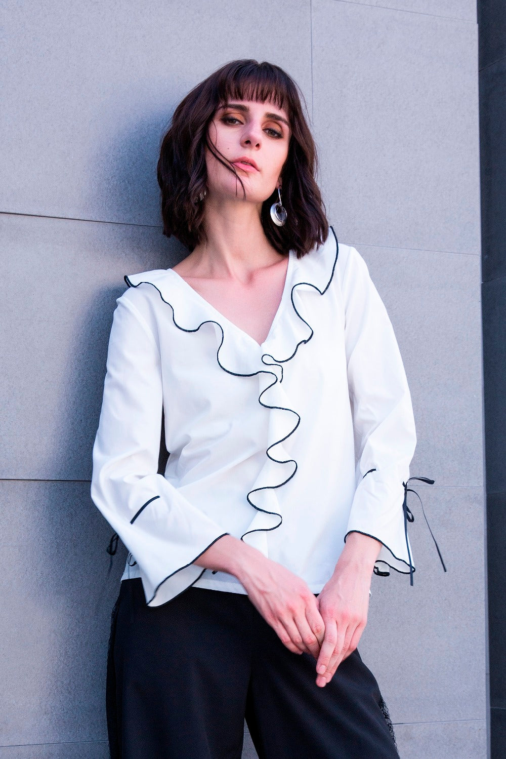 143048991e5 Women s Elegant V-Neck White Top With Ruffles and Flare Sleeves in S to 5XL
