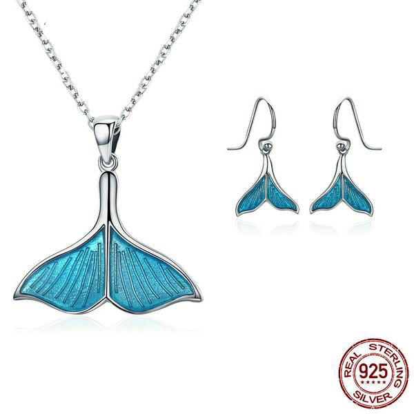 Ocean Cool Breeze - Unique & Cute Fish's Tail Jewelry Set, Crafted from Platinum Plated Silver