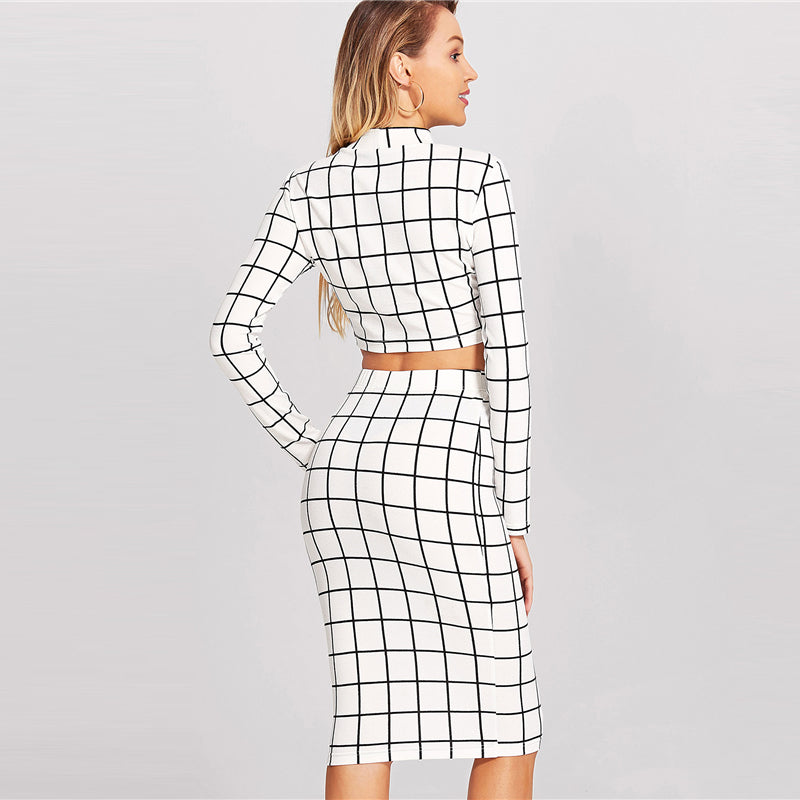 53f9edcedcf Women's White and Black Checkered Pattern 2 Piece Suit with Long Sleeve  Crop Top And Pencil