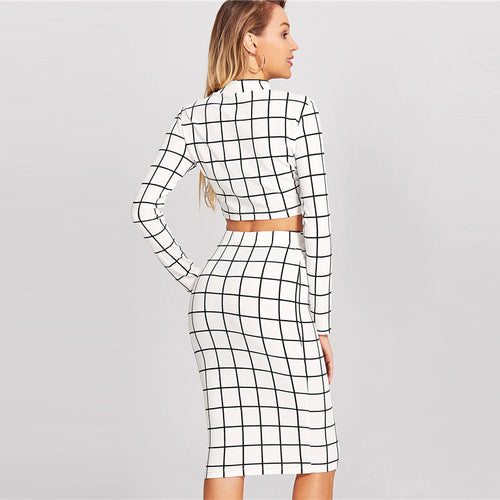 Women's White and Black Checkered Pattern 2 Piece Suit with Long Sleeve Crop Top And Pencil Skirt