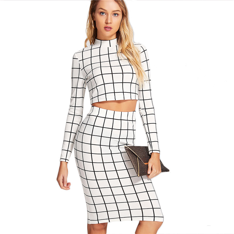 32cb8db17b1db Women s White and Black Checkered Pattern 2 Piece Suit with Long Sleeve Crop  Top And Pencil Skirt