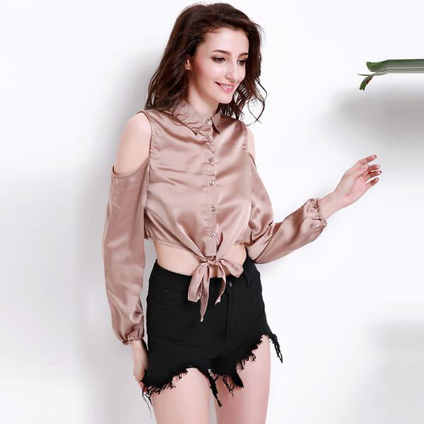2 Colors of Women's Sexy Cold Shoulders Loose Crop Tops