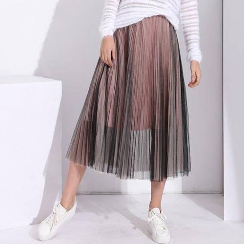 Women's High Waist Pleated Tulle Skirts in 4 Colors