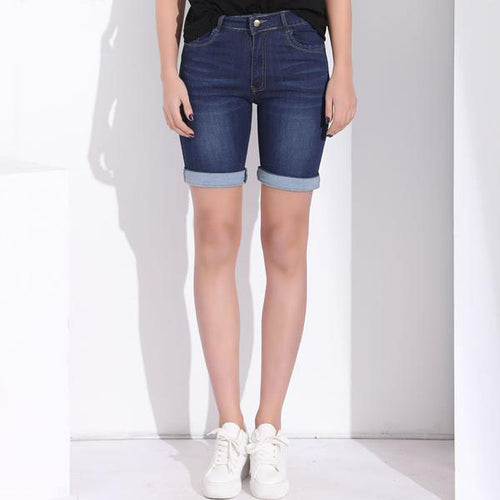 Women's High Waist Long Denim Summer Shorts from Small to Plus Sizes