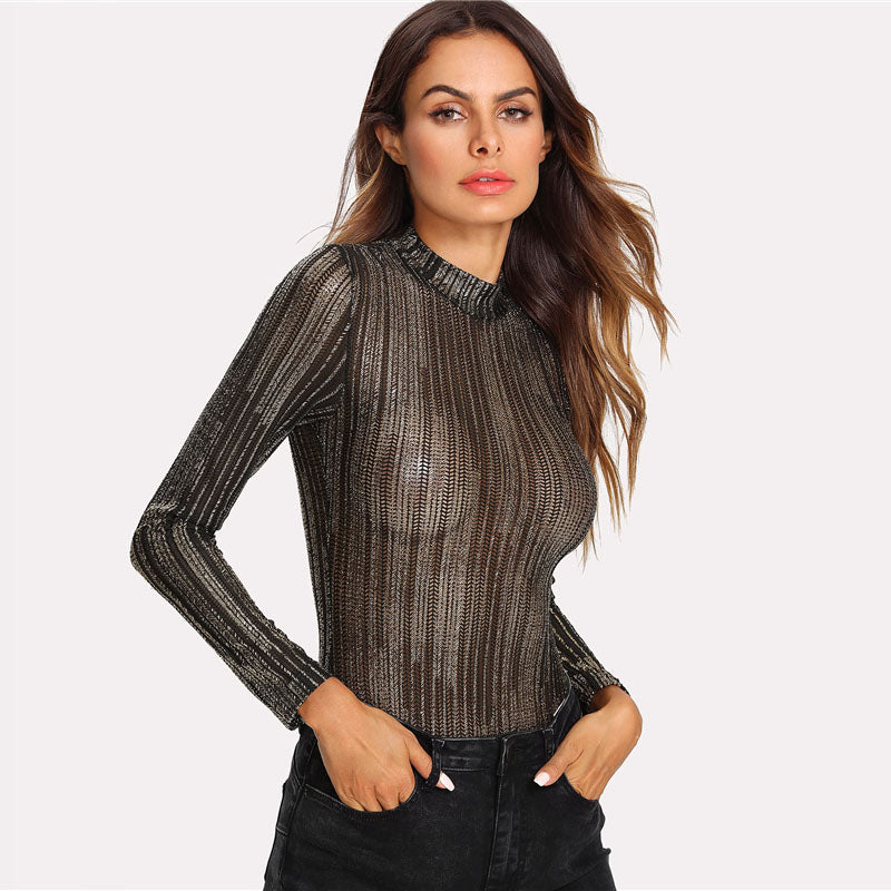 Women's Sexy See through Full-Sleeves Bodysuit  in Metallic Texture