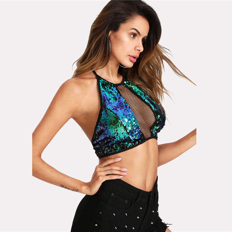 Women's Sexy Sequin Crop Top with Fishnet Front