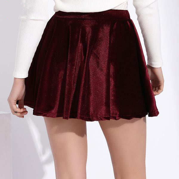 Women's Casual Velvet Finish Pleated Sexy Mini Skirts in 5 Cool Colors