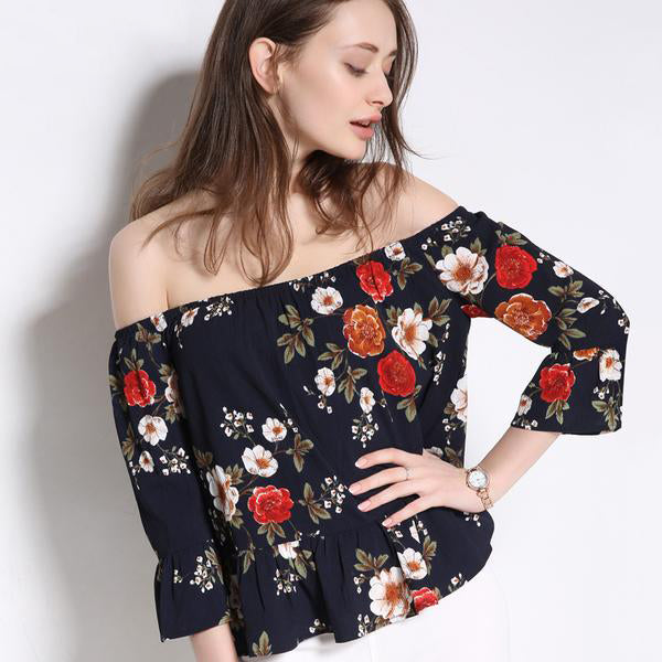 5ce0fa95df1c Women s Off-Shoulder Cute and Sexy Floral Print Chiffon Crop Top ...