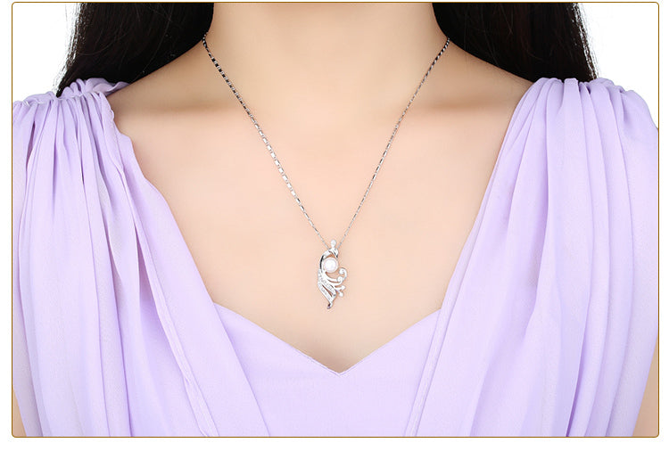 Beauty of Diamonds and Pearl - White Gold Plated Pendant Necklaces, Paved with Crystals and Imitation Pearl