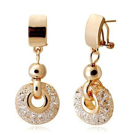 Luxury Rose Gold Drop Earrings Champagne Wire Zirconia Crystal