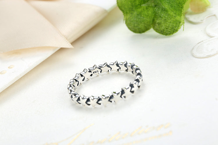 Women's Simple yet Cute Finger Ring with a String of Stars Crafted with Pure Silver