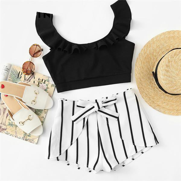 Women's 2 Piece Set with Black Ruffled Round Collar Crop and Striped Shorts