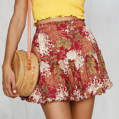 Women's Cute Ruffled Mini Floral Skirt with Elastic Waist