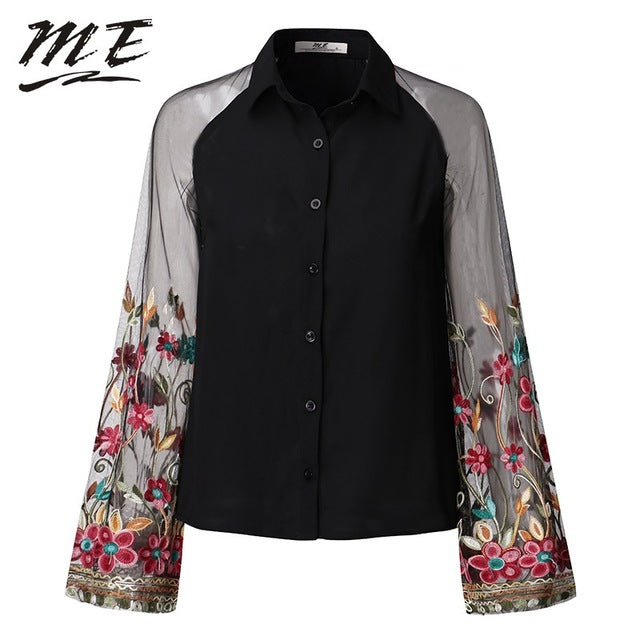 77e6cb2c773862 Women's Black or White Elegant Long Sleeves Floral Embroidered Summer Tops  - S to 3XL Sizes