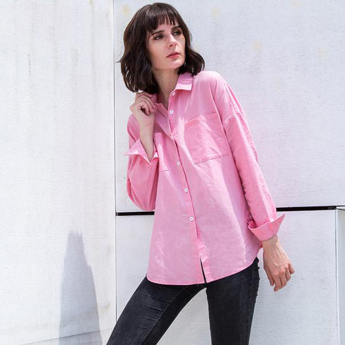 Women's Cute Pink Shirt with Turn-down Collar and Full Sleeves for Autumn in S to 5XL Plus Sizes