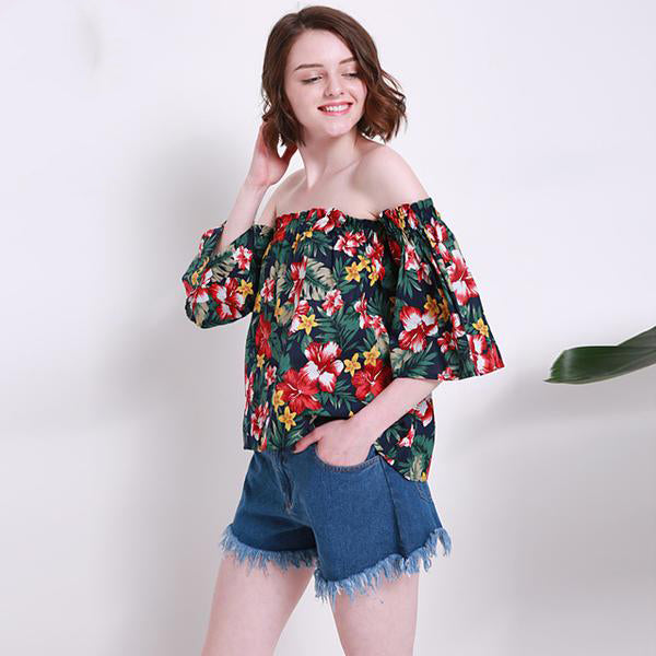 b010e314dd77a Women s Two Colorful Floral Design Off-Shoulder Top for Autumn and Summer  with Flare Sleeve and Elastic Shoulder