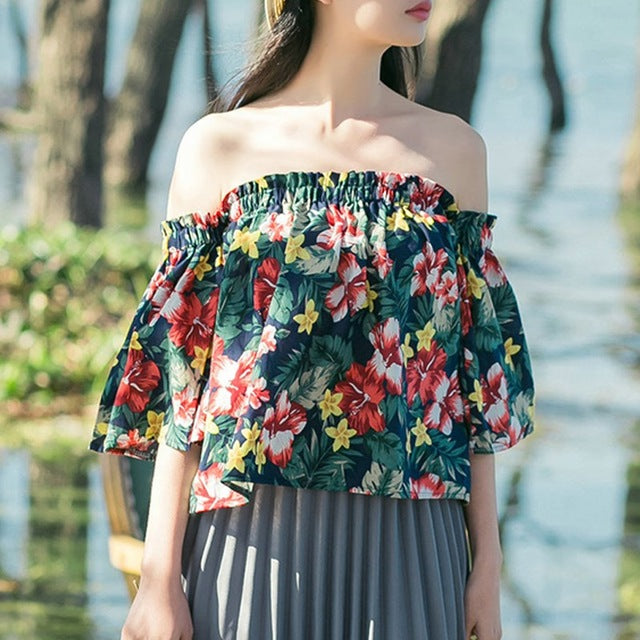 985a9a5300e Women's Two Colorful Floral Design Off-Shoulder Top for Autumn and Summer  with Flare Sleeve