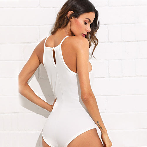 Women's Elegant & Sexy Sleeveless White Bodysuit with an Elegant Crochet Front