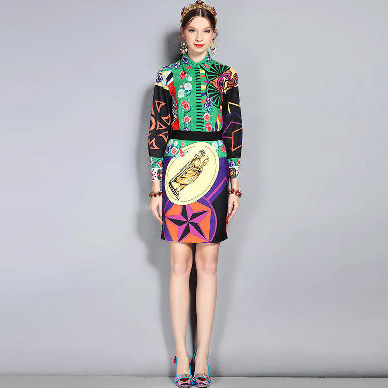 Women's Designer Multi-color Abstract Design 2-Piece Set with Full Sleeves Blouses and Skirt