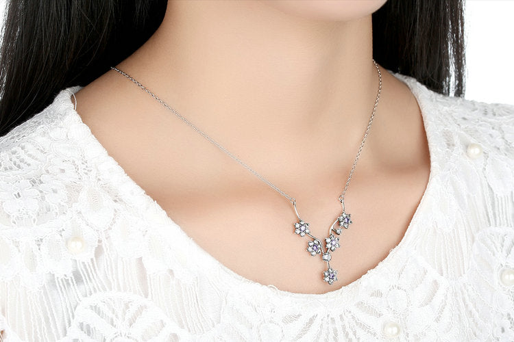 Flower Vine - Necklace with Elegant Dazzling Pendant Crafted from Silver and Purple & Clear Crystals