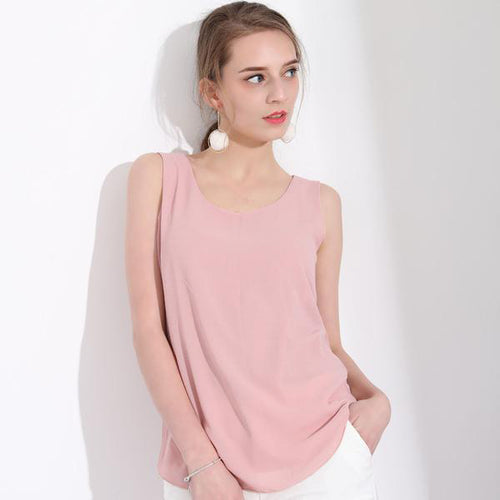 Women's Solid Color Double Layer Tops in 10 Colors