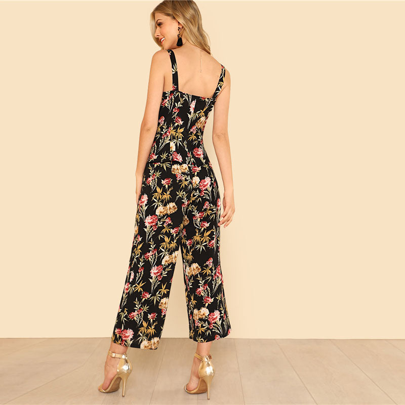 Women's Cute & Sexy 2 Piece Set with Floral Print Top And Wide Leg Pants