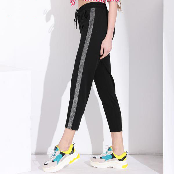 Women's Loose Casual Pants With Side Silver Stripe