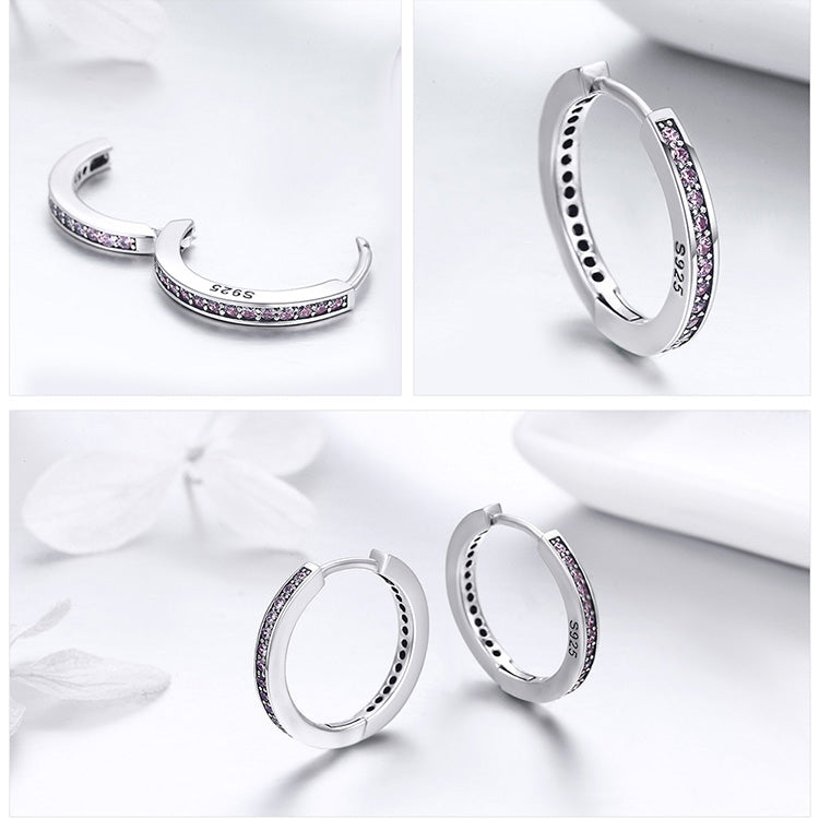 Elegance in Simplicity - Luxury of Diamond in these Hoop Earrings Crafted from Silver and Crystals