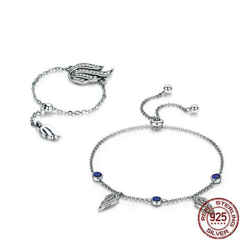 Designer Bracelet and Ring Jewelry Set with Wing Shaped Pendants and Adjustable Size, Crafted from Silver