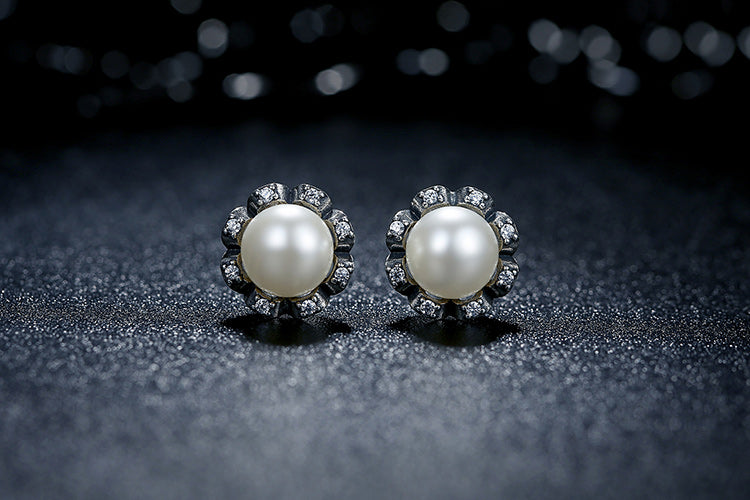 Moon with Diamonds like Stars - Gorgeous Earrings Crafted from Silver, Pearls and Crystals