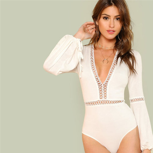Women's Elegant yet Sexy White Skinny Bodysuit with Deep V-Neck and Long Sleeves