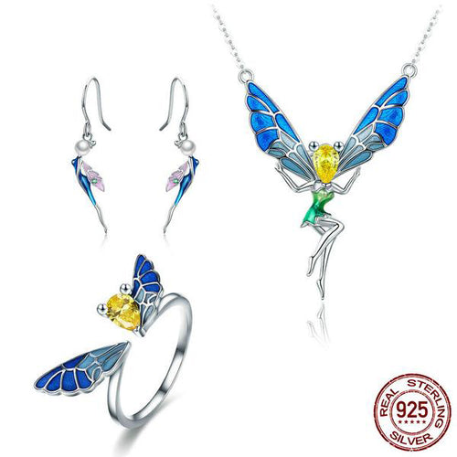Cute Colorful Angel Bee Jewelry Set Crafted fro Silver and Elegant Gemstone like Crystals