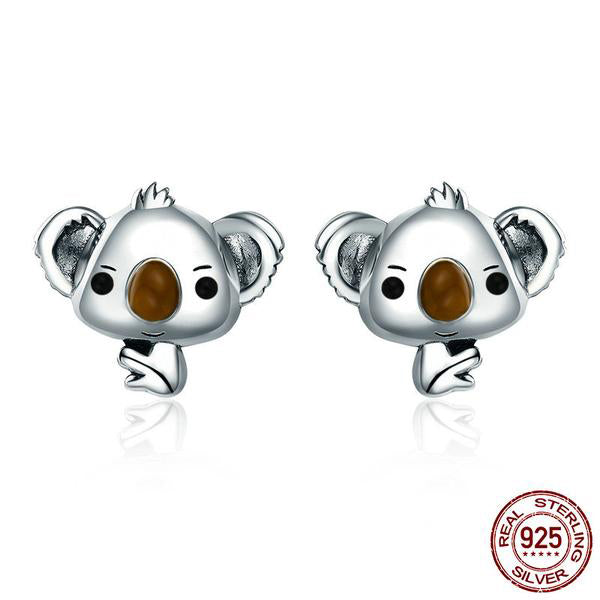 Jewelry Set with Lovely Kid Bear Crafted by White Gold Plated Silver and Diamonds like Crystals