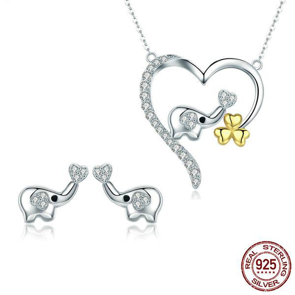 Cute yet Elegant - Baby Elephant Jewelry Set Crafted from Silver and Diamonds like Crystals