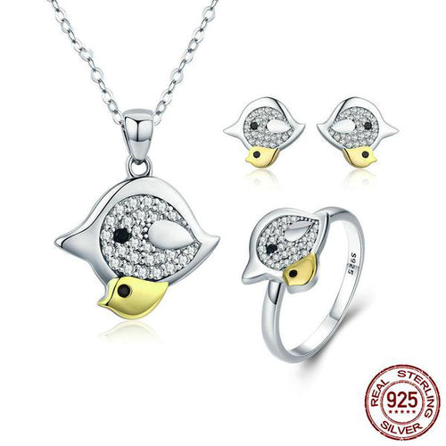 Jewelry Set with Lovely Bird Family Crafted by White Gold Plated Silver and Diamonds like Crystals