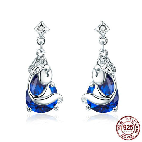 Blue Elegance - Gorgeous Fish & the Ocean Jewelry Set Crafted with Silver and Sapphire like Crystal
