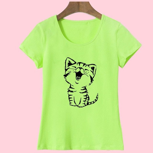 7 Colors of Short Sleeves T-Shirt for Girls with a Cute Laughing Cat