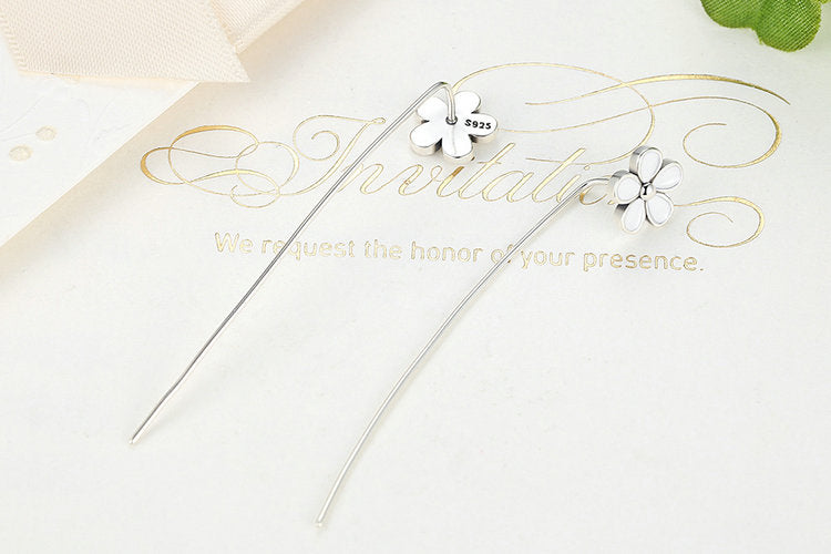 Cute Flower with a Long Stem - Earrings Crafted by Silver - Simple but Eye catching