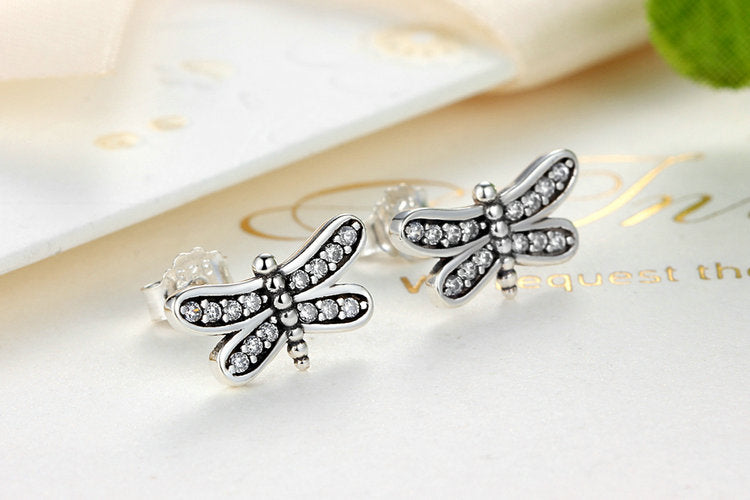 Be Free - Cute Dragonfly Earrings Crafted from Silver and Crystals