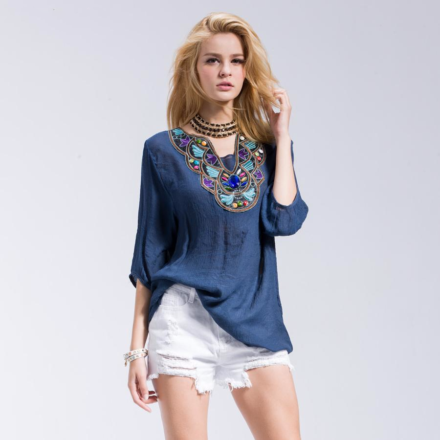 Women's Casual but Elegant Loose T-Shirt with Floral Round cum V-Neck and