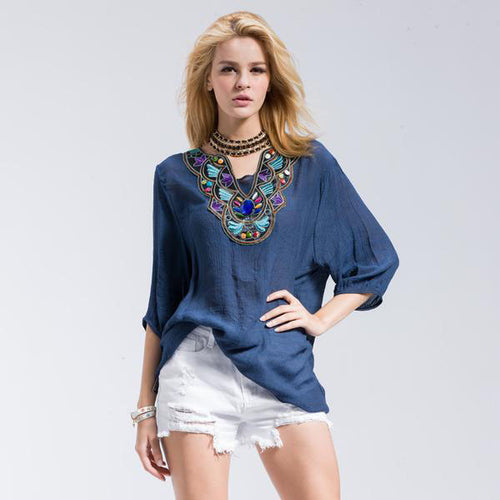 Women's Casual but Elegant Loose T-Shirt with Floral Round cum V-Neck and Half Sleeve in 4 Colors