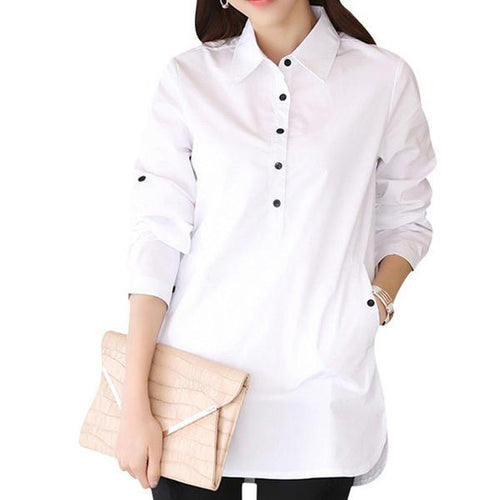 Women's Long Sleeves Elegant White Cotton Shirt for both Formal & Casual Wear in S to XXXL Sizes