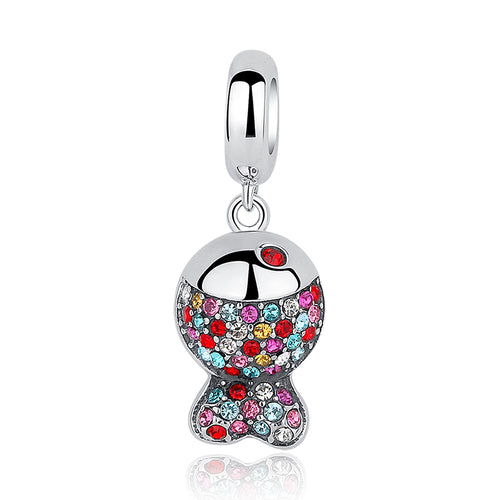 Eye Catching Gorgeous Multi Color Fish Pendants with Chain, Crafted from Silver and Elegant Crystals