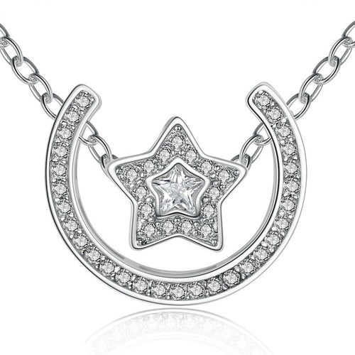Gorgeous Diamonds like Crystals Studded Star and Moon Pendant Necklace