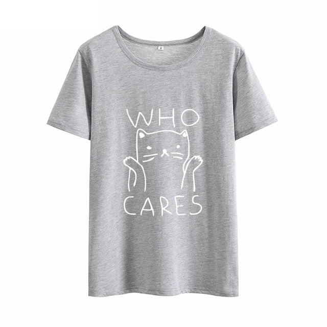 "Cute Cat ""Who Cares"" Cotton T-shirt for Girls in 6 Color Combinations"