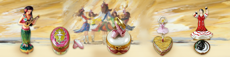 Dance Ballet Limoges Trinket Boxes Figurines Porcelain Jewelry Box