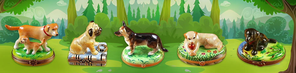 Dog Limoges Boxes Porcelain Figurines
