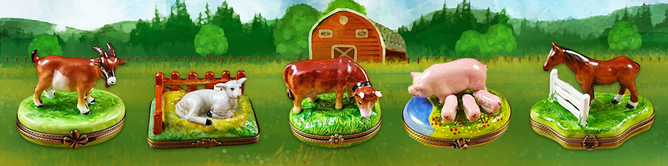 Farm Animals Porcelain Figurines Limoges Boxes Gifts Collectors